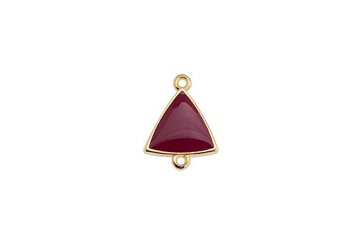 Link Triangle Motif With 2 Rings Gold - Bordeaux 14,8x19mm