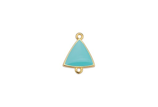 Link Triangle Motif With 2 Rings Gold - Turquoise 14,8x19mm