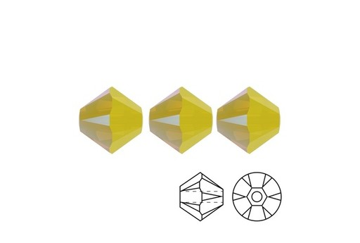 Swarovski Bicones 4mm 20pcs Yellow Opal AB2X 5328