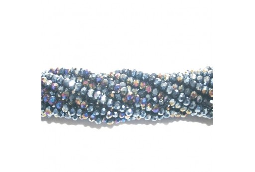 Chinese Crystal Beads Faceted Rondelle Black AB 2x3mm - 140pcs