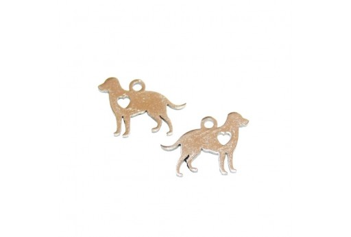 Stainless Steel Charms Dog - Platinum 11x15mm -2pcs