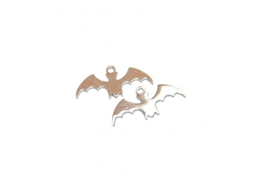 Stainless Steel Charms Bat - Platinum 8x18mm -2pcs