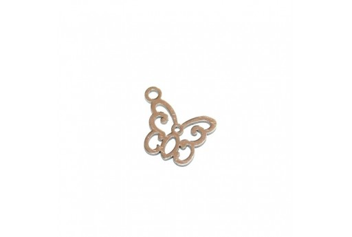 Stainless Steel Charms Butterfly - Platinum 11x13mm -2pcs