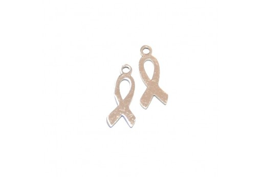 Stainless Steel Charms Awareness Ribbon - Platinum 14x6mm -2pcs