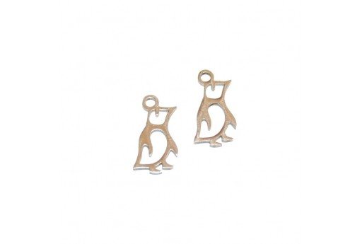 Stainless Steel Charms Penguin - Platinum 14x7mm -2pcs