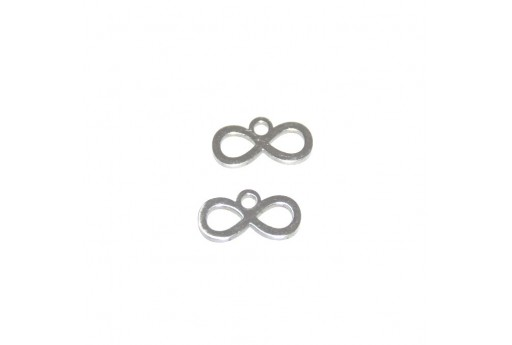 Stainless Steel Charms Infinity - Platinum 6x12mm -2pcs