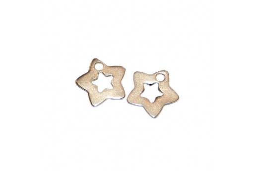 Stainless Steel Charms Star - Platinum 11,5x12mm -4pcs