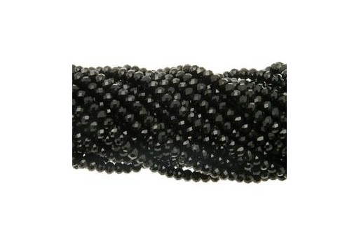 Chinese Crystal Beads Faceted Rondelle Black 6x4mm - 90pcs