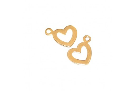 Stainless Steel Charms Heart - Gold 10,5x14mm - 4pcs