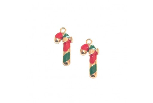 Metal Charms Christmas Candy Cane - Gold 20x9,5mm - 4pcs