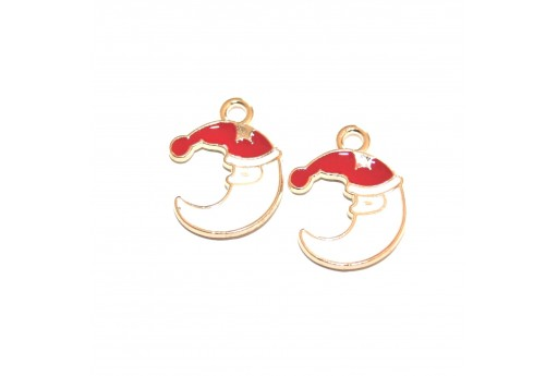 Metal Charms Christmas Moon with Christmas Hat - Gold 20X16mm - 4pcs