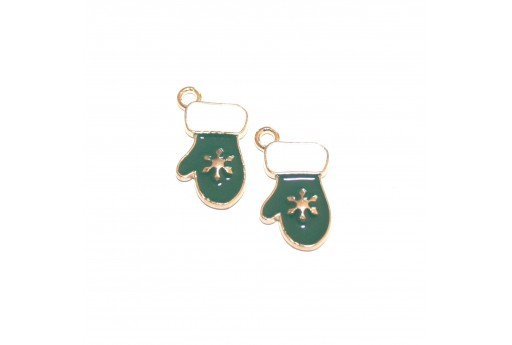 Metal Charms Christmas Glove Green - Gold 19x11mm - 4pcs