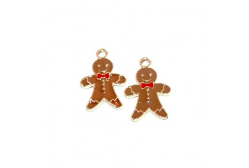 Metal Charms Christmas Gingerbread Man - Brown 10,5x14mm - 2pcs