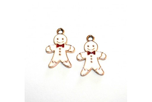 Metal Charms Christmas Gingerbread Man - White 10,5x14mm - 2pcs