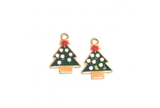Metal Charms Christmas - Christmas Tree - 20x14mm - 4pcs