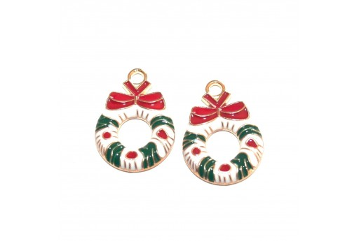 Metal Charms Christmas - Christmas Wreath with Bowknot - 23X16mm - 2pcs