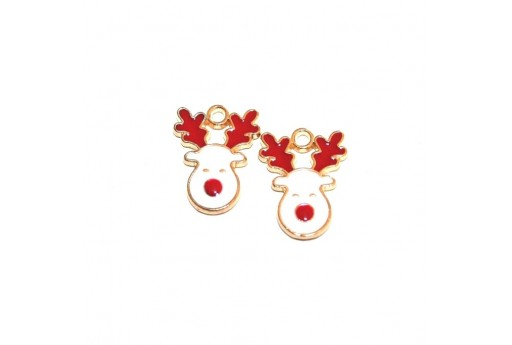 Metal Charms Christmas Reindeer - 17x13mm - 2pcs