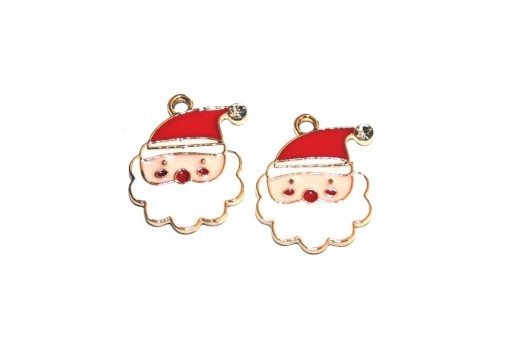 Metal Charms with Crystal Rhinestone Father Christmas - 21x16mm - 2pcs