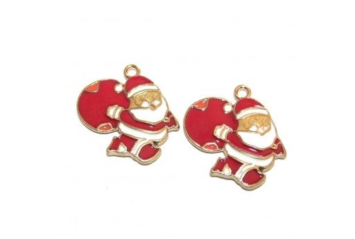 Metal Charms Santa Claus - 23x23mm - 2pcs