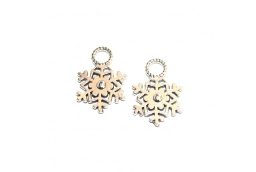 Metal Charms Snowflake - Platinum 21x15mm - 8pcs