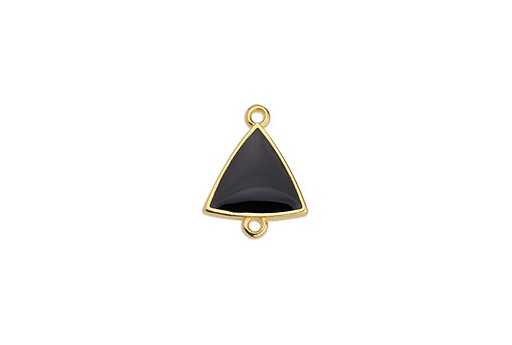 Link Triangle Motif With 2 Rings Gold - Black 14,8x19mm