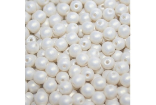 Czech Round Beads - Neon Silk White 6mm - 50pcs