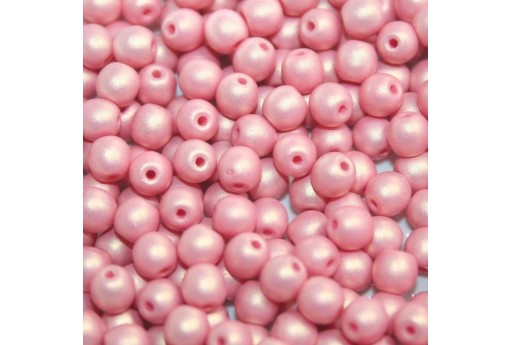 Czech Round Beads - Neon Silk Antique Pink 6mm - 50pcs