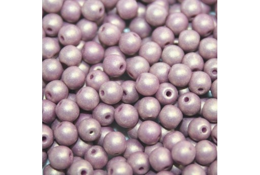 Czech Round Beads - Neon Silk Mauve 6mm - 50pcs