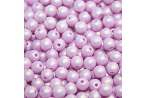 Czech Round Beads - Neon Silk Lavender 6mm - 50pcs