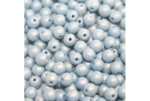 Czech Round Beads - Neon Silk Blue Gray 6mm - 50pcs