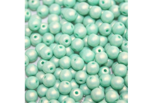 Czech Round Beads - Neon Silk Seafoam 6mm - 50pcs