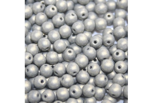 Czech Round Beads - Neon Silk Gray 6mm - 50pcs