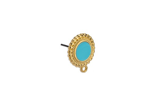 Earring Setting Ethnic 1 Ring Gold - Turquoise 15x17,7mm - 2pcs