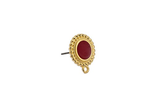 Earring Setting Ethnic 1 Ring Gold - Bordeaux 15x17,7mm - 2pcs