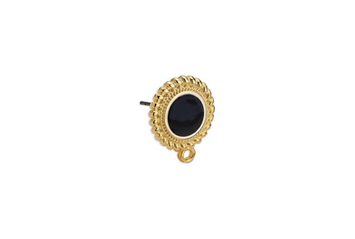 Earring Setting Ethnic 1 Ring Gold - Black 15x17,7mm - 2pcs