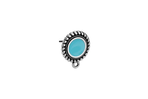 Earring Setting Ethnic 1 Ring Silver - Turquoise 15x17,7mm - 2pcs