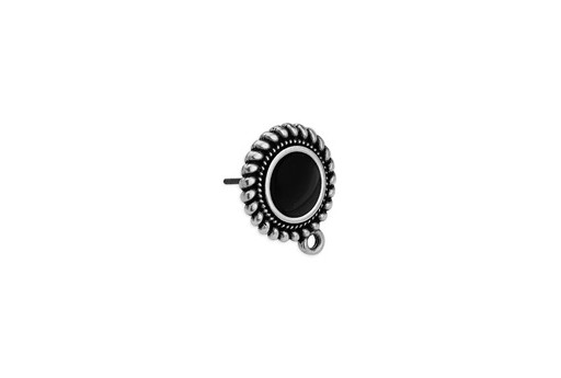 Earring Setting Ethnic 1 Ring Silver - Black 15x17,7mm - 2pcs