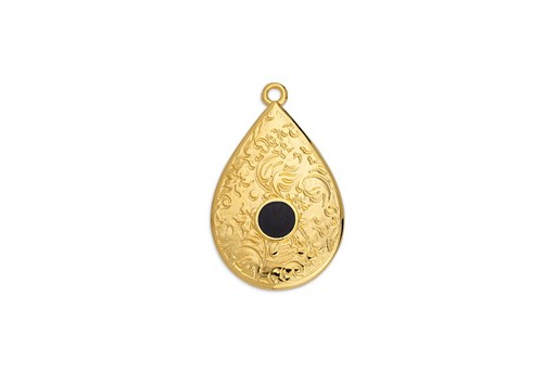Drop Motif Ethnic Pendant Gold - Black 17,6x27,8mm
