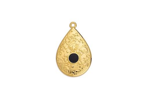 Pendente Goccia in Metallo Oro - Nero 17,6x27,8mm