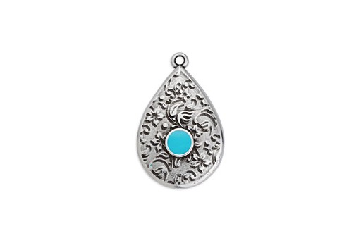 Drop Motif Ethnic Pendant Silver - Turquoise 17,6x27,8mm