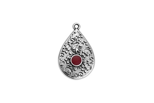 Drop Motif Ethnic Pendant Silver - Bordeaux 17,6x27,8mm