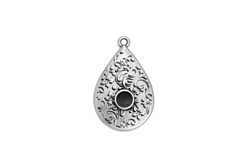 Drop Motif Ethnic Pendant Silver - Black 17,6x27,8mm