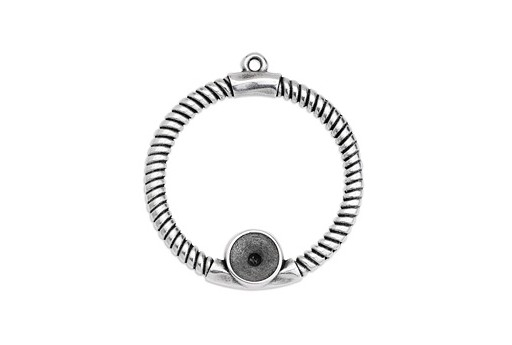 Circle Rope Texture with Setting SS39 Pendant - Silver 39x43mm