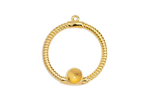 Circle Rope Texture with Setting SS39 Pendant - Gold 39x43mm
