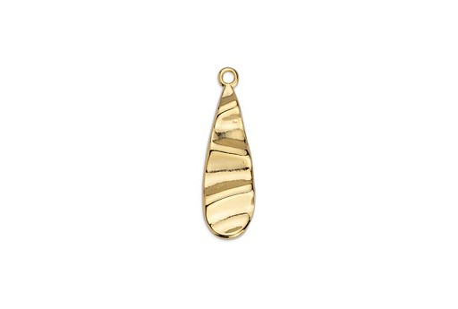 Drop Motif with Ripple Effect Pendant - Gold 8x27,8mm - 2pcs