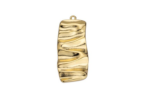 Rectangular Motif with Ripple Effect Pendant - Gold 17,5X39mm
