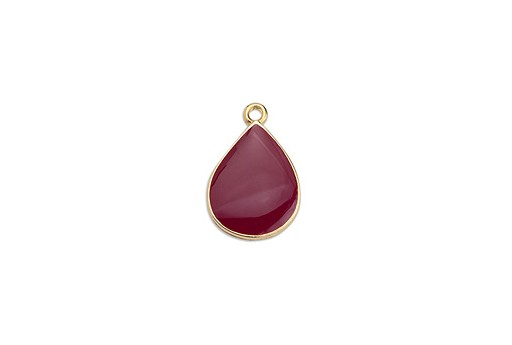 Drop Motif Pendant Gold - Bordeaux 13,5x20mm - 2pcs