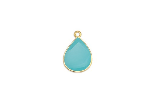 Drop Motif Pendant Gold - Turquoise 13,5x20mm - 2pcs