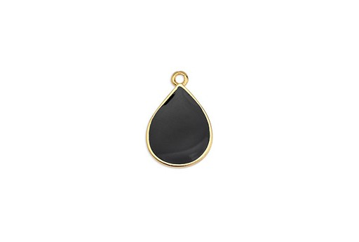 Drop Motif Pendant Gold - Black 13,5x20mm - 2pcs