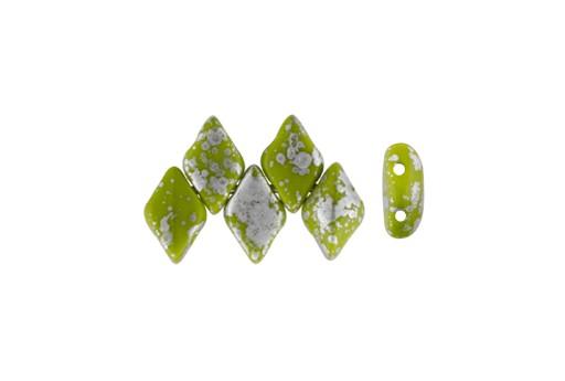 GemDuo Beads - Silver Splash Opaque Olivine 8x5mm - 10gr